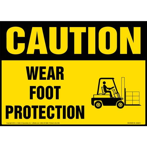 Caution: Wear Foot Protection With Graphic - OSHA Sign (010660)