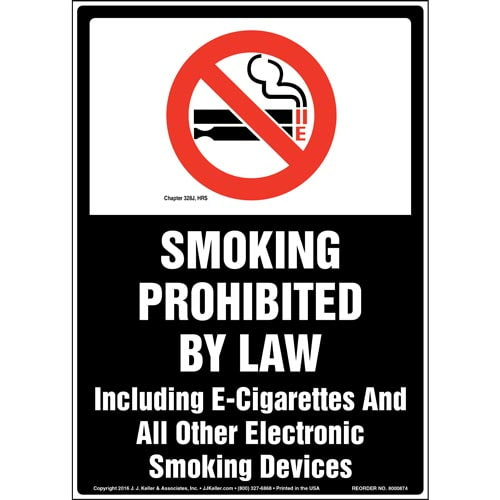 Hawaii: Smoking Prohibited By Law Including E-Cigarettes Sign (010683)