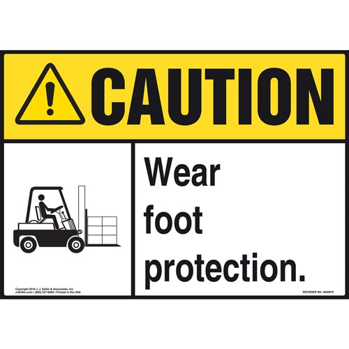 Caution: Wear Foot Protection With Graphic - ANSI Sign (010661)