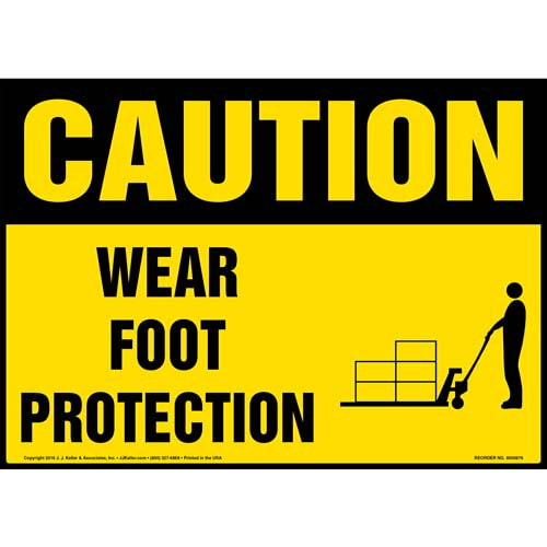 Caution: Wear Foot Protection - OSHA Sign (010662)