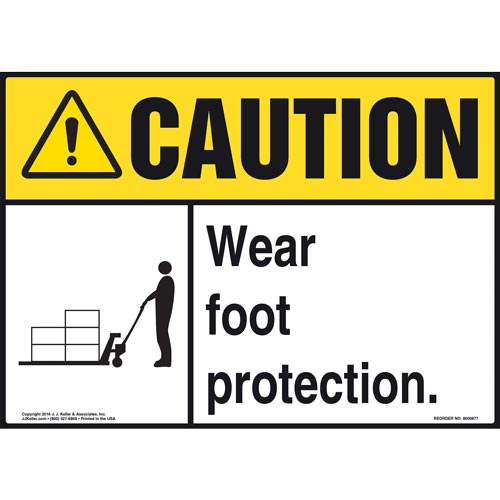 Caution: Wear Foot Protection - ANSI Sign (010663)