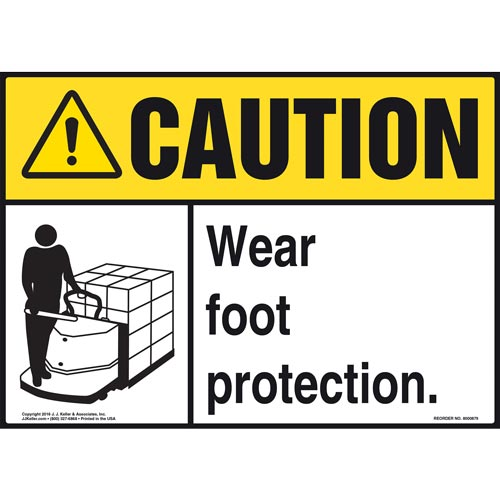Caution: Wear Foot Protection With Graphic - (Yellow/Black) ANSI Sign (010665)