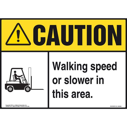 Caution: Walking Speed Or Slower In This Area Sign - ANSI, Forklift Icon (010667)