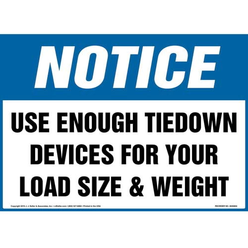 Notice: Use Enough Tiedown Devices For Your Load Size & Weight Sign - OSHA (010679)