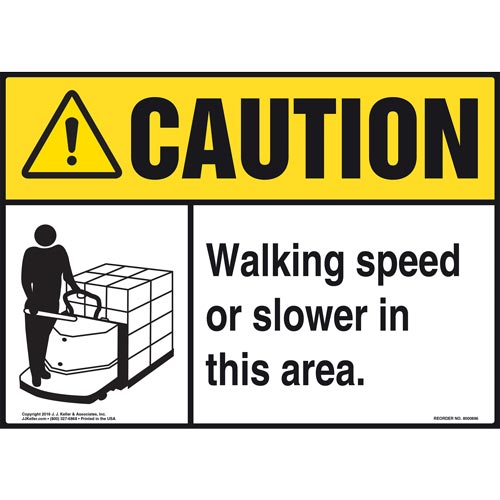 Caution: Walking Speed Or Slower In This Area Sign - ANSI, Motorized Pallet Jack Icon (010688)