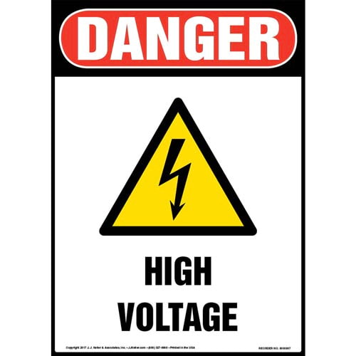 Danger High Voltage With Graphic - OSHA Sign (010689)