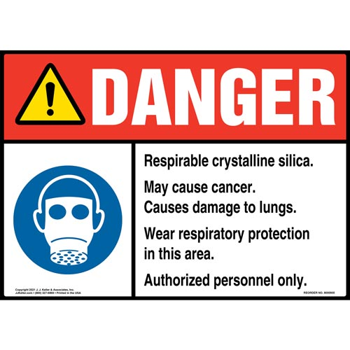 Danger: Respirable Crystalline Silica Sign - ANSI, Facepiece Respirator Icon (010760)