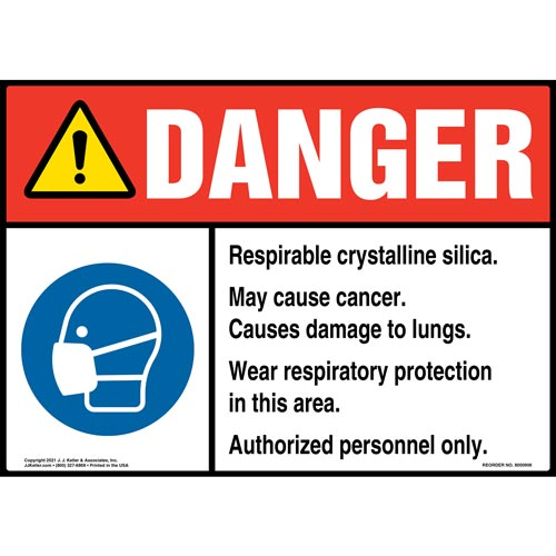 Danger: Respirable Crystalline Silica Sign - ANSI, Respirator Icon (010761)