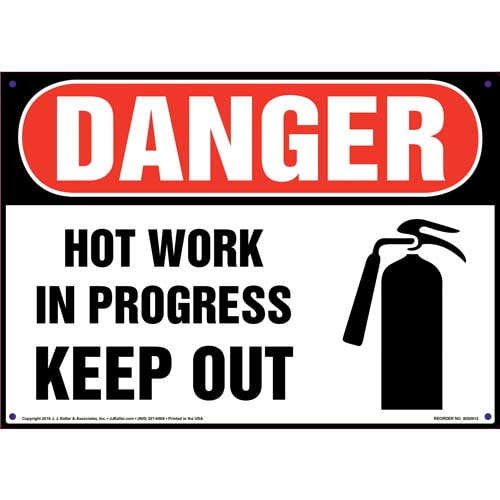 Danger: Hot Work In Progress Keep Out Sign with Icon - OSHA (010814)
