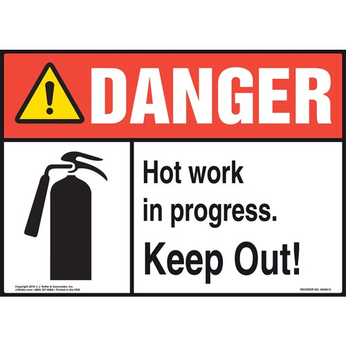 Danger: Hot Work In Progress Keep Out Sign with Icon - ANSI (010815)