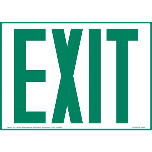Exit Sign - Green Text (010898)