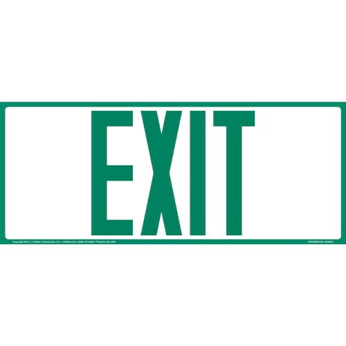 Exit Sign - Green Text, Long Format (010907)