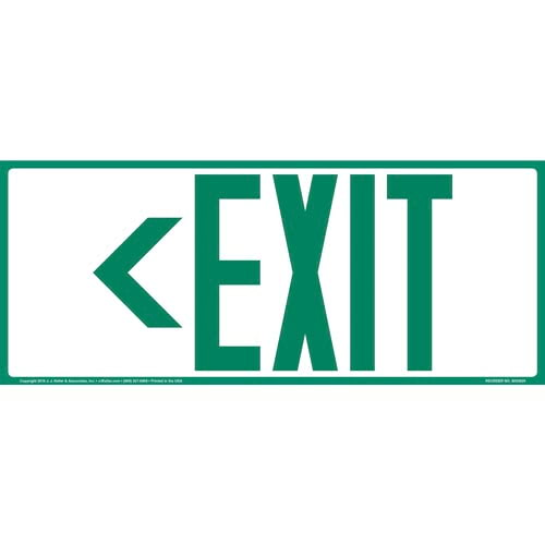 Directional Exit Left Sign - Green, Long Format (010921)