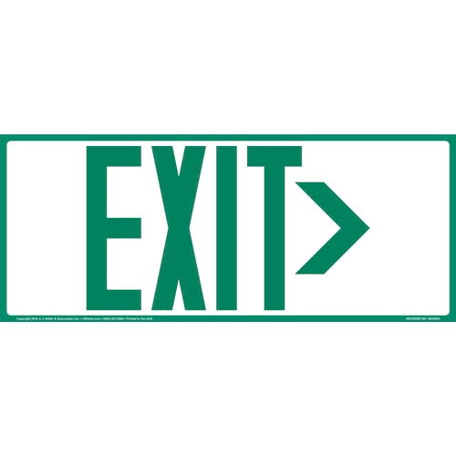 Directional Exit Right Sign - Green, Long Format (010922)