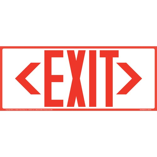 Directional Exit Left or Right Sign - Red, Long Format (010923)
