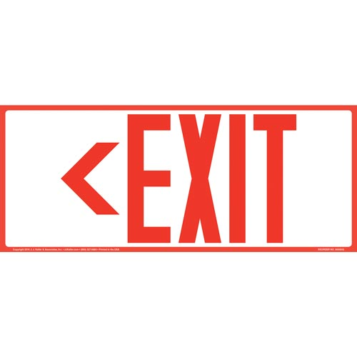 Directional Exit Left Sign - Red, Long Format (010924)