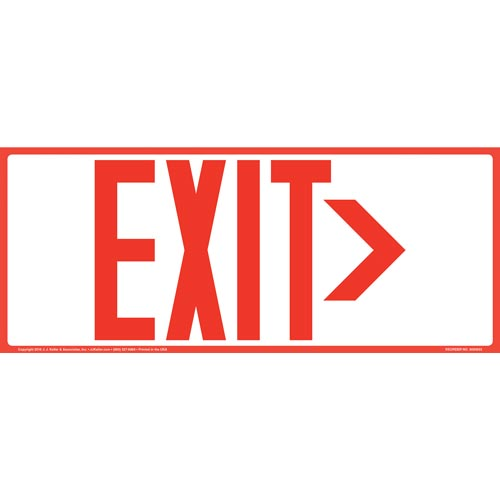 Directional Exit Right Sign - Red, Long Format (010925)