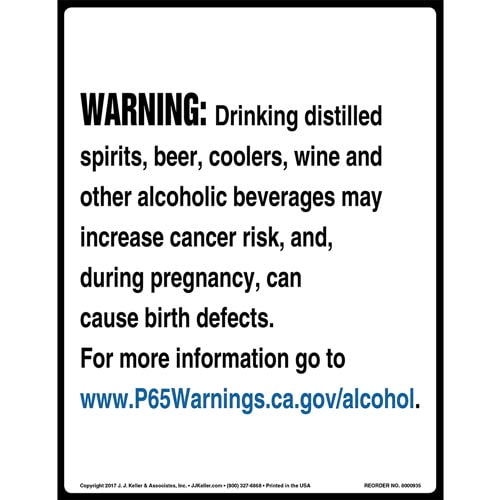 California Prop 65: Alcoholic Beverages Warning Sign (010957)
