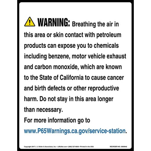 California Prop 65: Service Stations Warning Sign (010964)