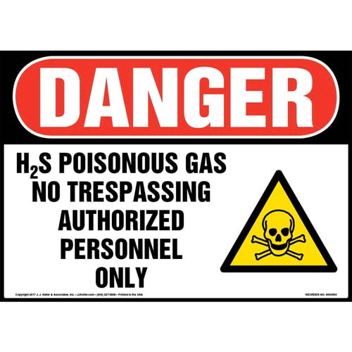 Danger: H2S Poisonous Gases Sign with Icon - OSHA (010970)