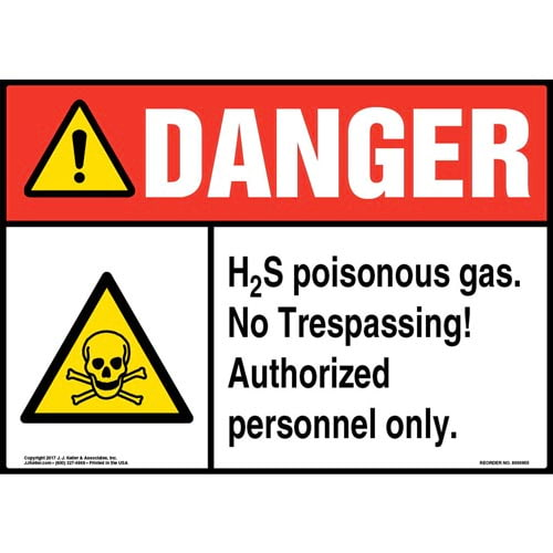 Danger: H2S Poisonous Gas Sign with Icons - ANSI (010971)