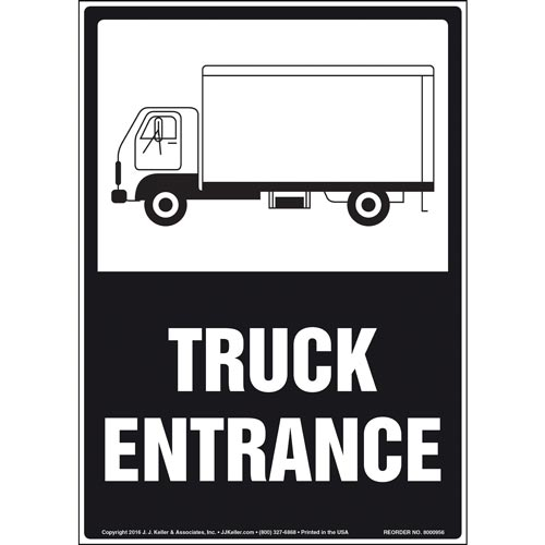 Truck Entrance Sign with Trailer Icon (010972)