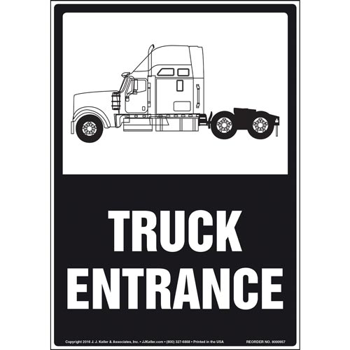Truck Entrance Sign with Cab Icon (010973)