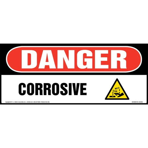 Danger: Corrosive Sign with Icon - OSHA, Long Format (010979)