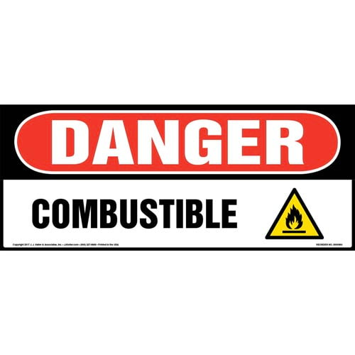 Danger: Combustible Sign with Icon - OSHA, Long Format (010980)