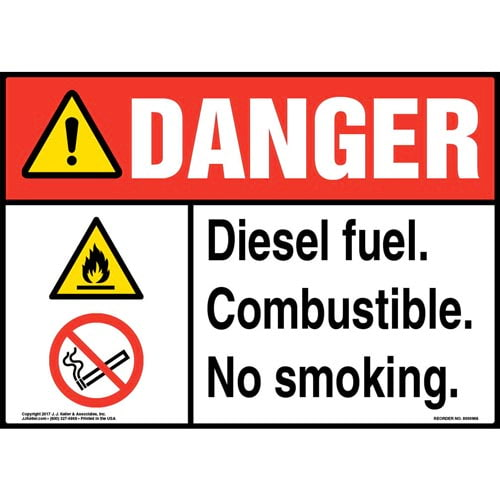 Danger: Diesel Fuel Combustible No Smoking Sign - ANSI (010984)