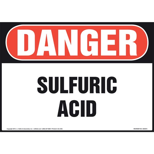 Danger: Sulfuric Acid Sign - OSHA (010988)