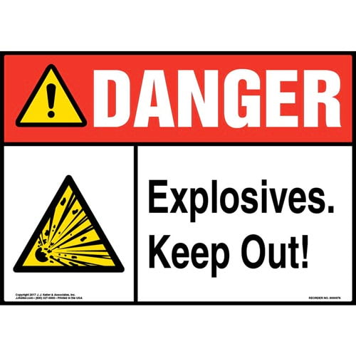 Danger: Explosives Keep Out Sign with Icons - ANSI (010994)