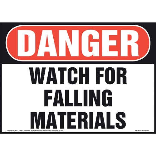 Danger: Watch For Falling Materials Sign - OSHA (011051)