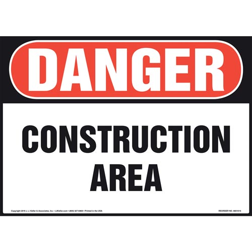 Danger: Construction Area Sign - OSHA (011052)
