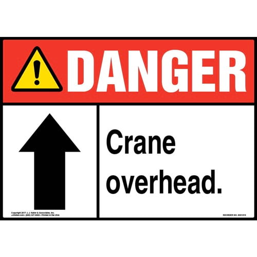Danger: Crane Overhead Sign with Arrow - ANSI (011057)