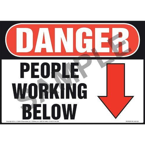 Danger: People Working Below Sign - OSHA (011061)
