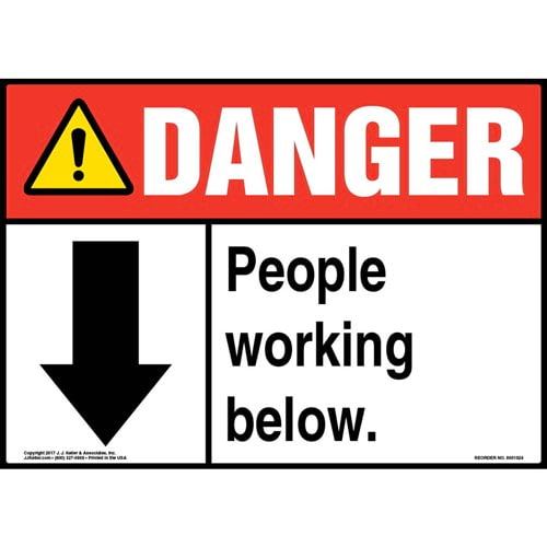 Danger: People Working Below Sign - ANSI (011062)