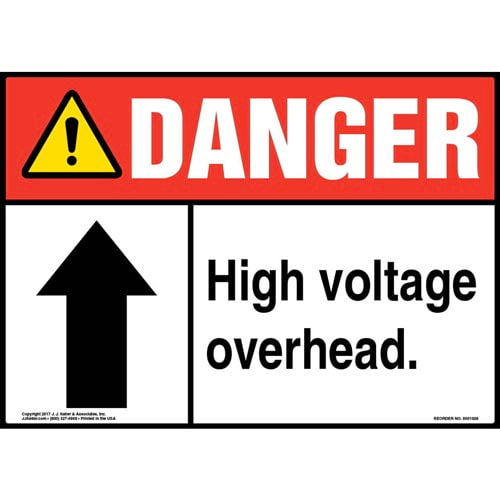 Danger: High Voltage Overhead - ANSI Sign (011066)