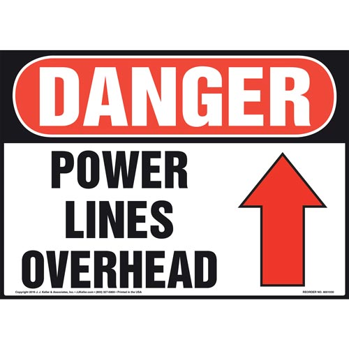 Danger: Power Lines Overhead - OSHA Sign (011068)