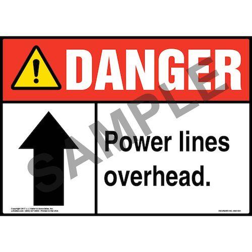 Danger: Power Lines Overhead - ANSI Sign (011069)