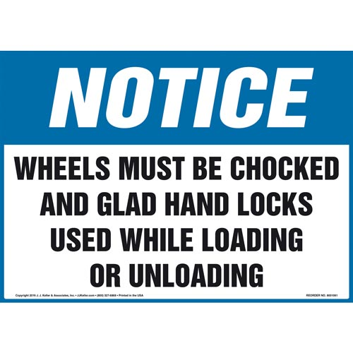 Notice Sign - Wheels Must Be Chocked And Glad Hand Locks Used... - OSHA (011099)