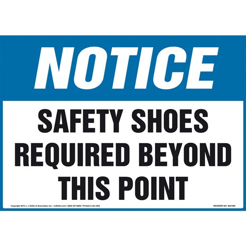 Notice: Safety Shoes Required Beyond This Point Sign - OSHA (011107)