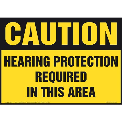 Caution: Hearing Protection Required In This Area - OSHA Sign (012087)