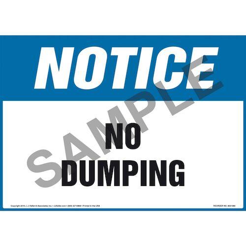 Notice: No Dumping - OSHA Sign (012091)