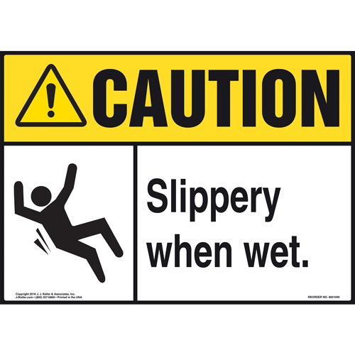 Caution: Slippery When Wet - ANSI Sign (012097)