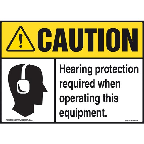 Caution: Hearing Protection Required When Operating Equipment Sign - ANSI (012106)