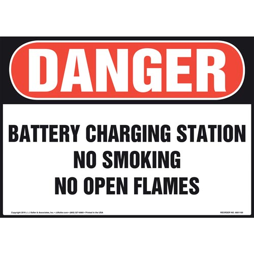 Danger: Battery Charging Station No Smoking No Open Flames - OSHA Sign (012107)