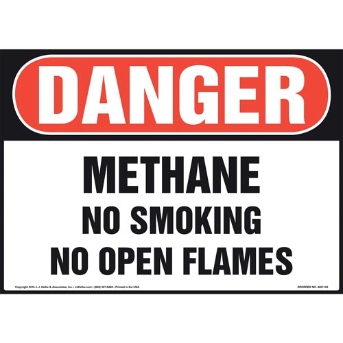 Danger: Methane No Smoking No Open Flames - OSHA Sign (012110)