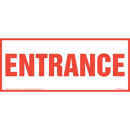 Entrance Sign - Red Text, Long Format (012158)