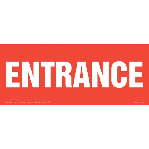 Entrance Sign - White Text on Red, Long Format (012159)